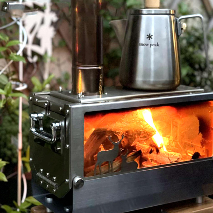 Camping Tent Stove Wood Burning Firebox With Side Glass For Heating Cooking