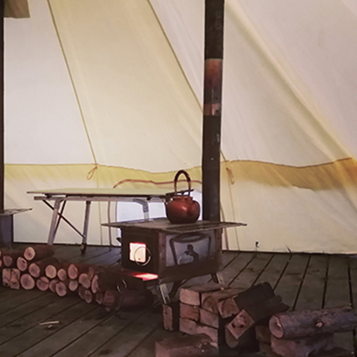 Portable Wood Burning Stove With Side Shelves Fireproof Glass Camping BBQ Heating Cooking