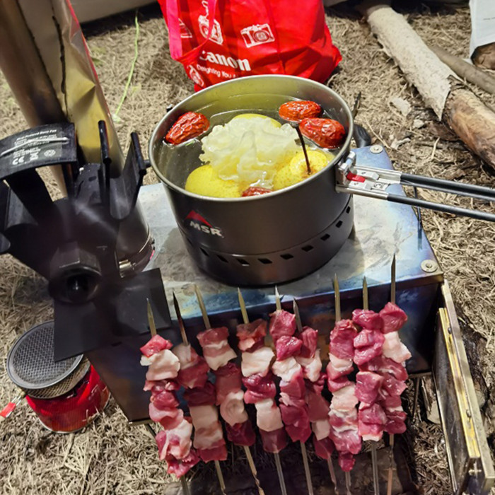 Folding Titanium Tent Stove For Hot Tent Camping And Cooking