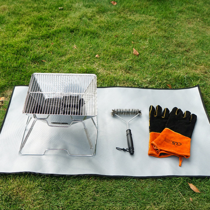 Fireproof Floor Mat Glass Fiber With Silicon Coated Firepit Ash Pad