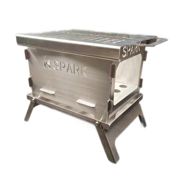 Portable Cooking Stove Folding Detachable BBQ Grill With Pot Bracket Pan Support