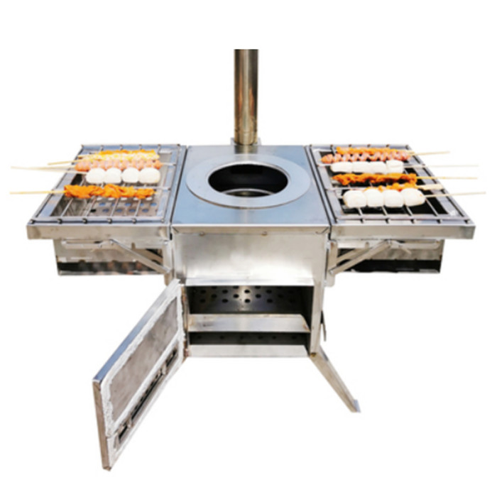 Outdoor Wood Stove Hot Tent BBQ Cooking Stove Portable Stainless Steel
