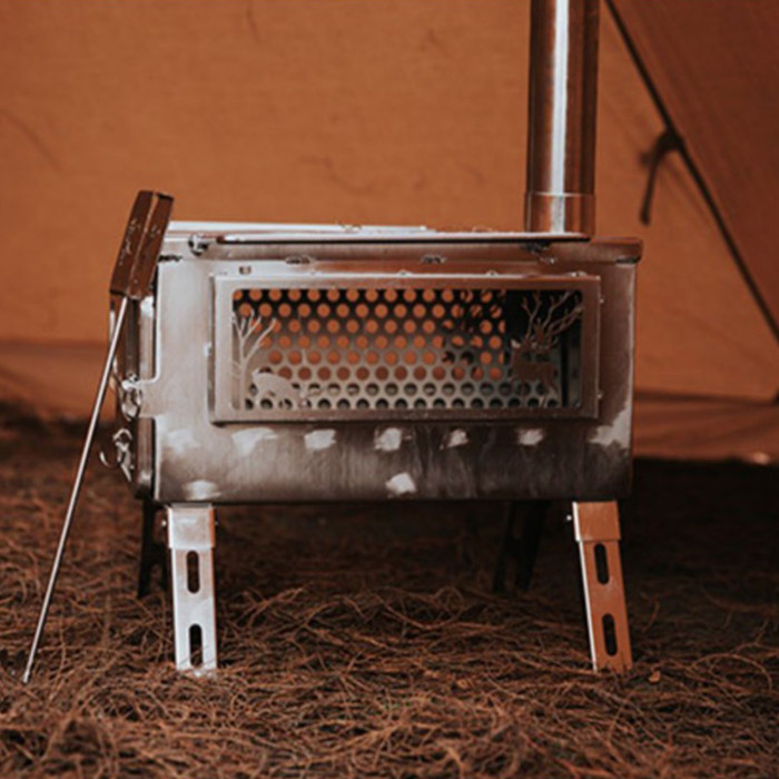 Camping Tent Wood Stove Portable 304 Stainless Steel With View Glass