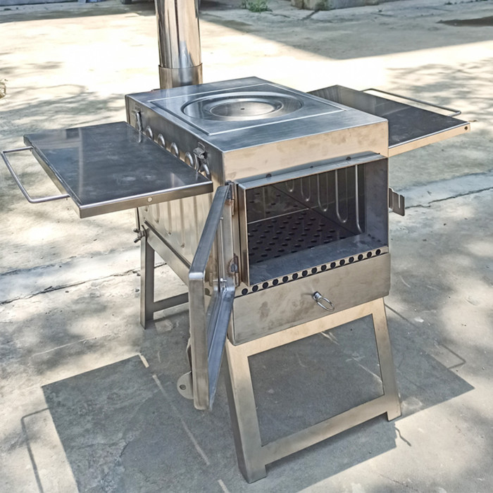 Tent Wood Stove Stainless Steel With Heat Resistant Glass Camping Heating and Cooking