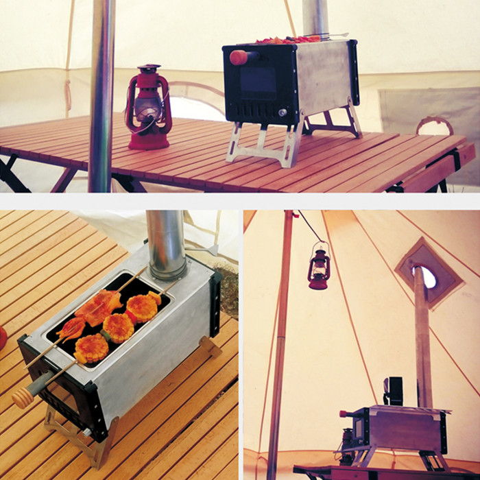 Camping Wood Stove Cooking And Heating Portable Stainless Steel BBQ Stove
