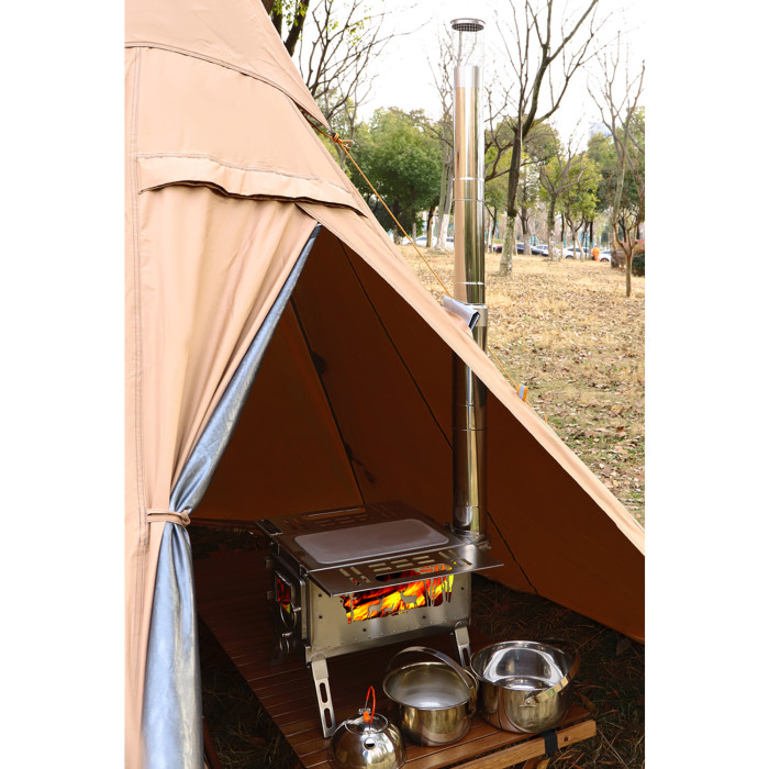 Camping Wood Stove With Viewing Glass Portable Cooking Burners Heating 4 Seasons