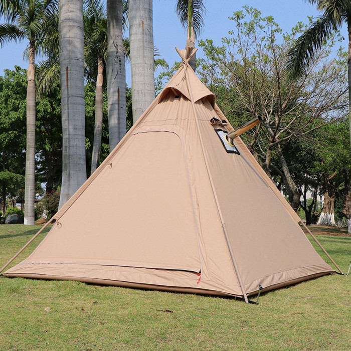 Camping Teepee Tent With Stove Jack 4 Support Poles Cotton Canvas Tipi