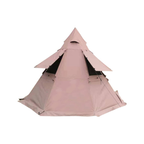 Camping Tipi Hot Tent With Wall Windows 4 5 6 Person 300D Oxford Fabric