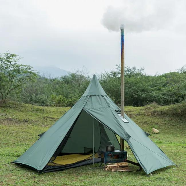 HUSSAR Ultralight Hot Tent Tipi With Stove Chimney And Removable Cap