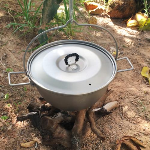 Camping Titanium Hanging Pot Outdoor Bushcraft Boiler Portable And Ultralight