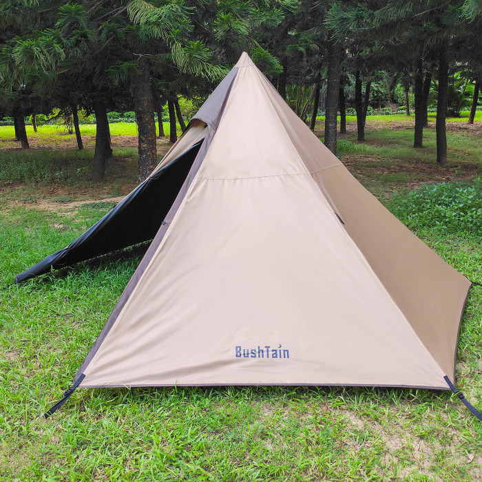 BushTain Camping Tipi Tent With Black Inner Layer For 2-3 Person