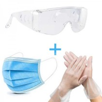 Home protection suit (Disposable Adult Protective Face Mask 50PC+ Disposable PVC Multi-purpose Gloves 100PC+ Medical Protective Goggles 1PC)