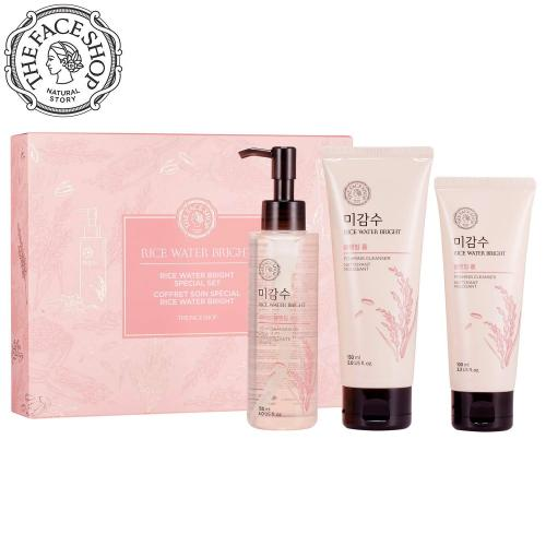 THE FACE SHOP Rice Water Bright Set - Cleanser 150ml + Light Cleansing Oil 150ml + Foam 100ml