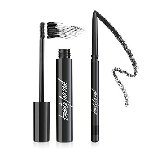 Beauty for Real 24-7 I-Line Black Waterproof Eyeliner + Hi-Def Lengthening Mascara, Black, Smudge Proof, Eye Set, 0.31 fl oz + 0.01 oz