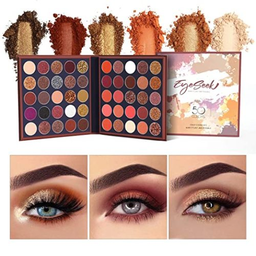 EYESEEK Eyeshadow Palette Matte 50 Colors High Pigmented Metallic And Shimmer Makeup Eyeshadow palette Easy To Blend Natural Colors Eyeshadow Powder Sparkle Smoky Eyeshadow Pallet #Brown