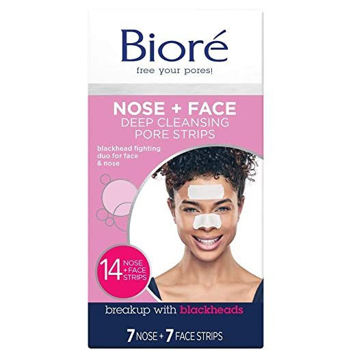Bioré Nose+Face, Deep Cleansing Pore Strips, 14 Count, 7 Nose + 7 Chin or Forehead, with Instant Blackhead Removal and Pore Unclogging, Oil-free, Non-Comedogenic Use (Packaging May Vary)