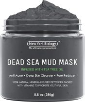 New York Biology Dead Sea Mud Mask for Face and Body Infused with Lavender - Spa Quality Pore Reducer for Acne, Blackheads and Oily Skin - Tightens Skin for A Healthier Complexion - 8.8 oz