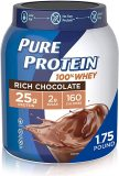 Natural Whey Protein Powder by Pure Protein, Gluten Free, Keto Friendly, Rich Chocolate, 1.75lbs
