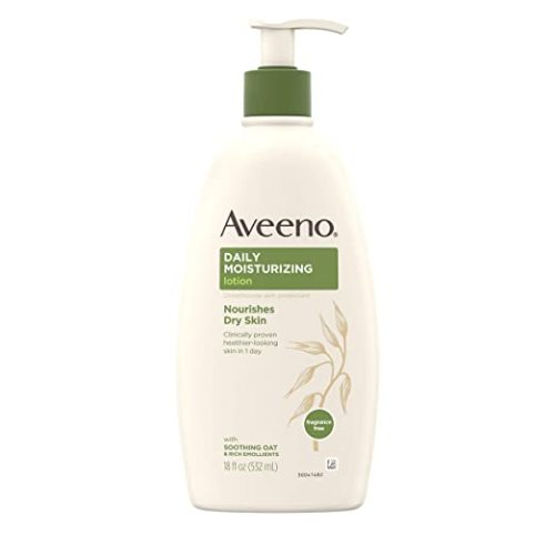 Aveeno Daily Moisturizing Body Lotion with Soothing Oat and Rich Emollients to Nourish Dry Skin, Gentle & Fragrance-Free Lotion is Non-Greasy & Non-Comedogenic, 18 fl. oz