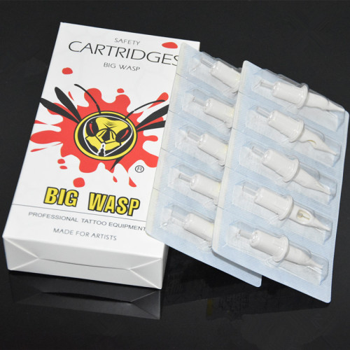 20PCS White BIGWASP Needles Cartridge With Membrane Safety Cartridge Tattoo Needles Tube Supply