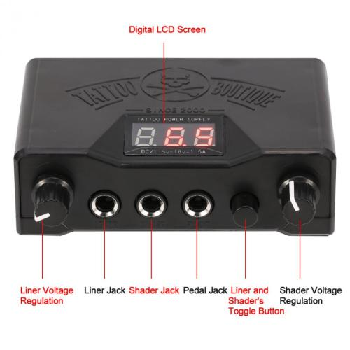 One Black LED Display Dual Permanent Makeup Tattoo Machine Power Supply