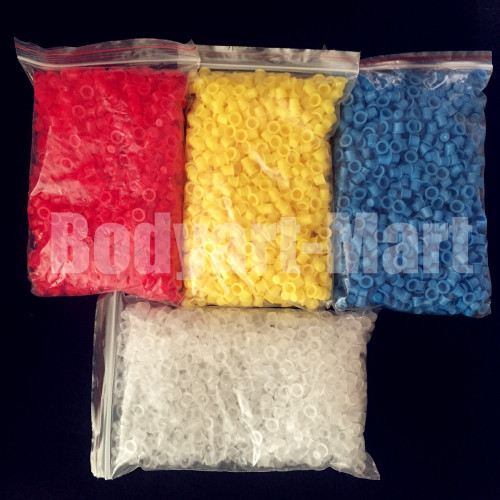 1000PCS #8 Small Disposable Plastic Yellow/Red/Blue/Clear Eyebrow Makeup Pigment Container Tattoo Ink Caps Cups Accessories Supply