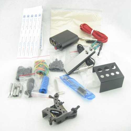 One Tattoo Machine Mini Power Needles Tips Beginner Starter Tattoo Kit Supply