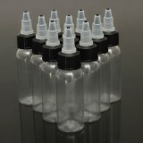 10PCS 30ml 1OZ White Twist Cap Empty Plastic Tattoo Ink Pigment Clear PET Bottle Supply
