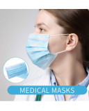 Disposable Non-woven Blue face mask 3 Layers Light Breathable Adult Style masks(50PCS)