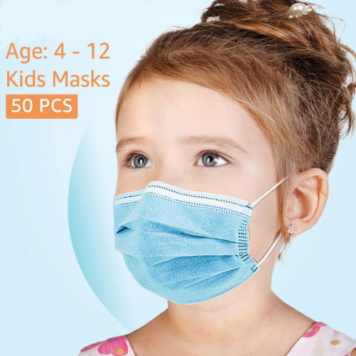 50pcs disposable masks for children, three layers, strong air permeability, with nose clip,Kids face mask