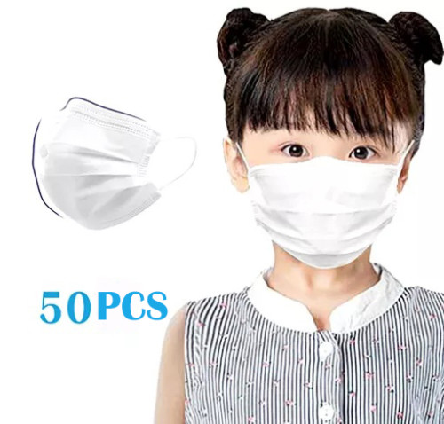 50Pcs Disposable 3-PLY Non-woven Earloop Face Respirator for Children -White,Kids face mask