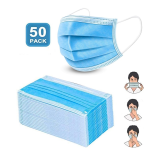 Disposable Non-woven Blue 3 Layers Light Breathable Adult Style masks(50PCS) and  Disposable Disinfectant Hand Sanitizer Disposable Hand Sanitizer 100ml