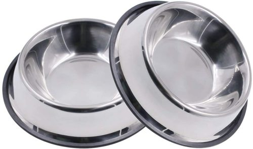 Stainless Steel Dog Bowl with Rubber Base for Small/Medium/Large Dogs, Pets Feeder Bowl and Water Bowl Perfect Choice (Set of 2)