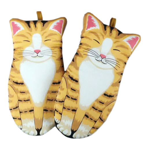 All cotton cat oven gloves baking insulation gloves