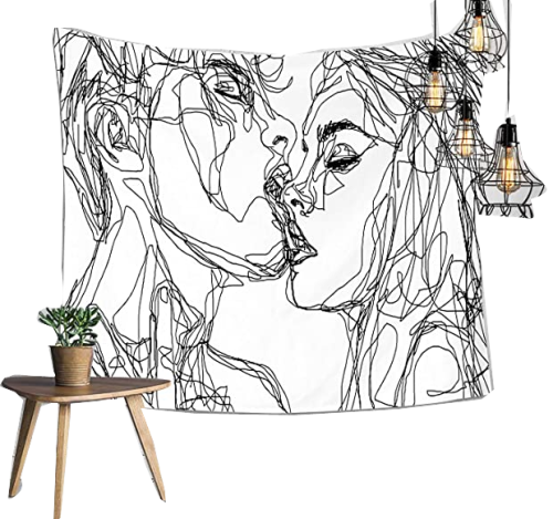 Tapestry Wall Hanging Abstract Sketch Art Kiss Lovers Wall Tapestry for Bedroom