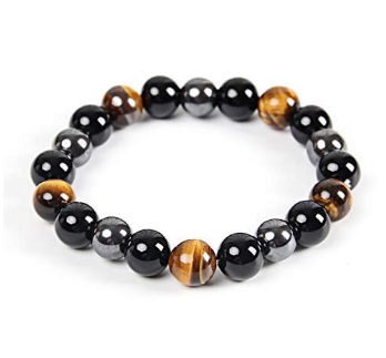 Triple Protection Bracelet-Protection-Bring Good Luck and Prosperity-Hematite-Obsidian-Tiger Eye-Stone Bracelet