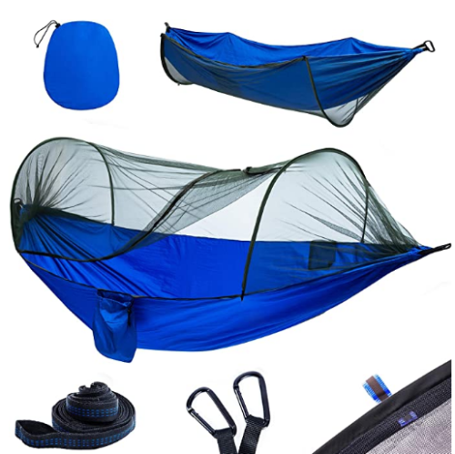 Camping Hammock with Mosquito Net & Tree Straps Lightweight Parachute Fabric Travel Bed for Hiking, Backpacking, Backyard.