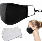 5pack FACE MASK | Unisex Reusable Liquid-Repellent Face Mask Protection Washable Strap and Nose Clip Insert Adjustable Ear Loops Shield Breathable Anti Dust Smoke Pollution (Black)