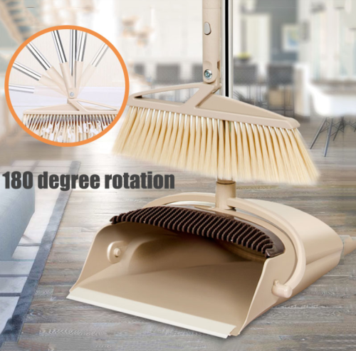 Rotatable Broom Dustpan Set Foldable Broom Wind Proof Hair Catcher Large Capacity Dustpan With Comb Teeth Sweeper Dropship