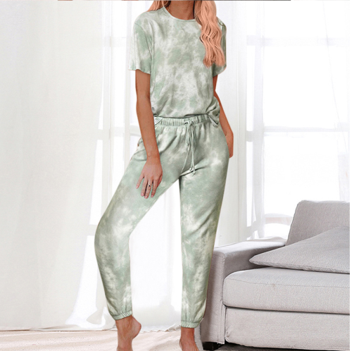 Women's tie-dye pajamas suit casual daily wear short-sleeved round neck top pocket long pants ladies two-piece suit