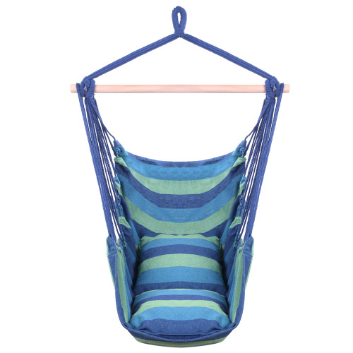 Distinctive Cotton Canvas Hanging Rope Chair with Pillows Blue(In stock in the US)