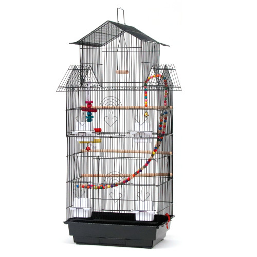 39  Bird Cage Pet Supplies Metal Cage with Open Play Top with three Additional Toys Black(In stock in the uk)