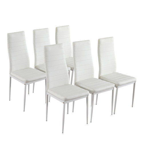6pcs Elegant Assembled Stripping Texture High Backrest Dining Chairs B White