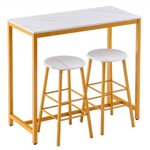 [107 x 47 x 92]cm PVC Marble Simple Bar Table   Round Bar Stool Golden Paint (One Table and Two Stools) White