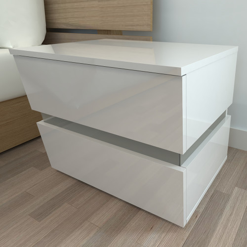 LED Double Side Cabinet Bedside Table White