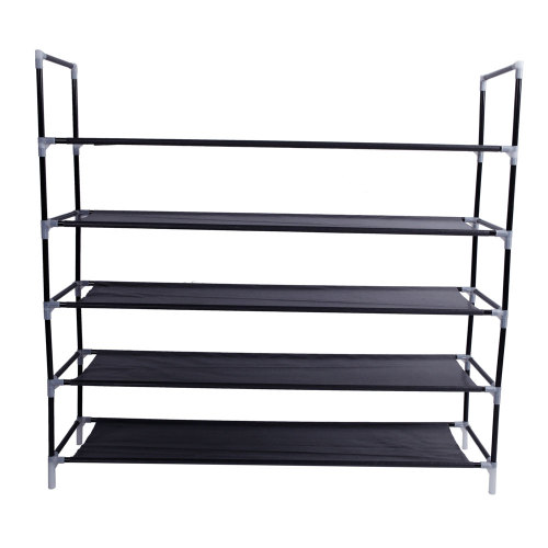 Simple Assembly 5 Tiers Non-woven Fabric Shoe Rack with Handle Black(In stock in the US)