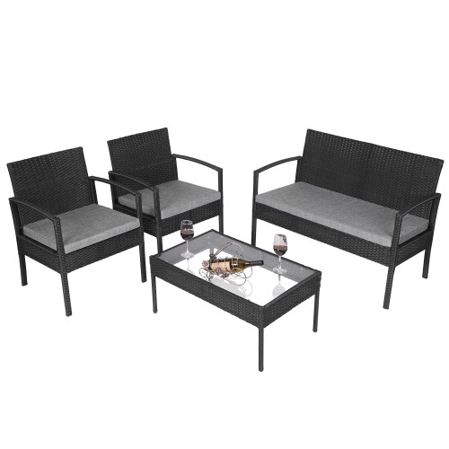4 PCS Outdoor Patio Rattan Wicker Furniture Set with Table Sofa Cushioned Black(In stock in the US)