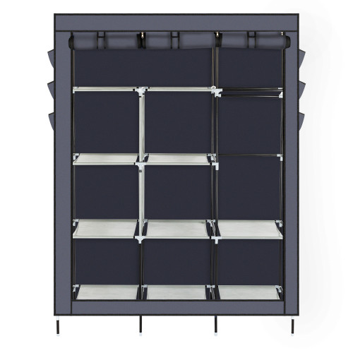 69  High-leg Non-woven Fabric Assembled Cloth Wardrobe Gray(In stock in the US)