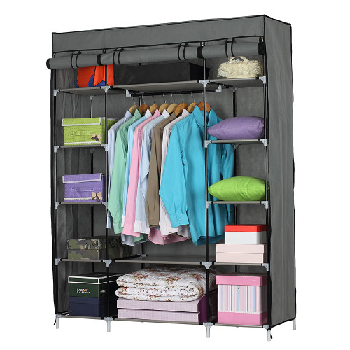 5-Layer 12-Compartment Non-woven Fabric Wardrobe Portable Closet Gray (133x46x170cm)(In stock in the US)