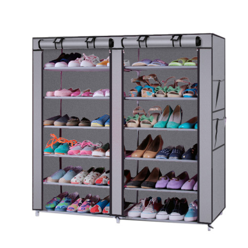 6-Row 2-Line 12 Lattices Non-woven Fabric Shoe Rack Gray(In stock in the US)